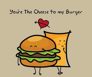 love, cheese, and burger image
