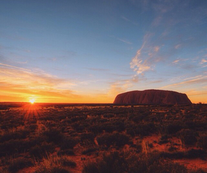 australia, sunset, and uluru image