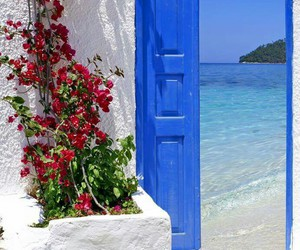 sea, Greece, and flowers image