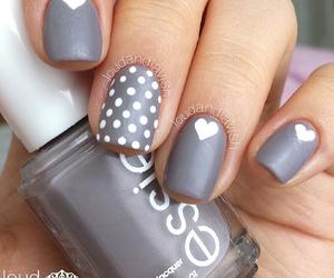 nails, grey, and heart image