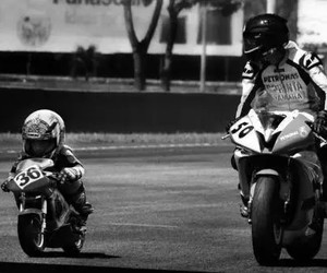 moto, baby, and black and white image