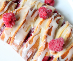 icing, yummy, and raspberries image