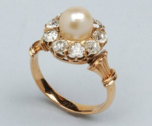 gold, ring, and pearl image