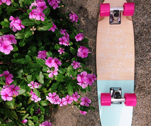 flowers, skate, and love image