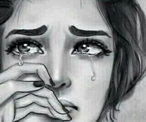 sad, art, and cry image