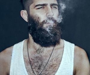 beard, smoke, and tattoo image