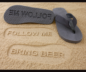 beach, beer, and flip flops image