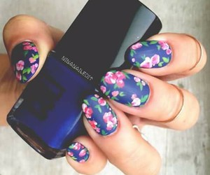 blue, flowers, and nails image