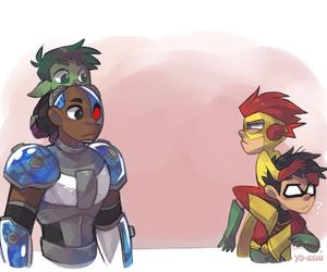 cyborg, beast boy, and lol image
