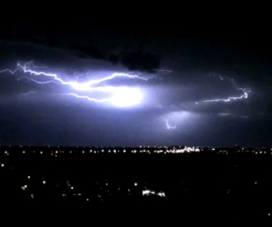 city, lightning, and night time image