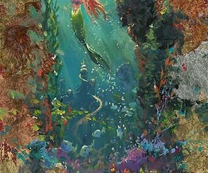 disney, ariel, and painting image