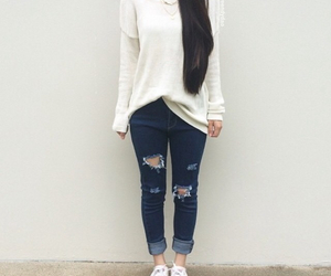 clothes, jeans, and shredded jeans image
