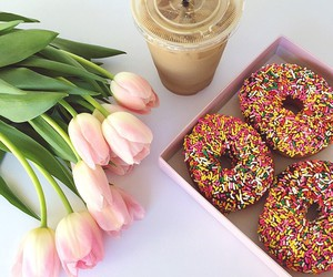 donuts, girly, and coffee image