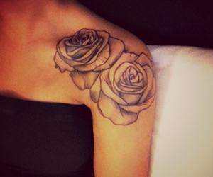 girl, roses, and tattoo image