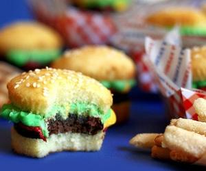 cupcake, food, and hamburger image