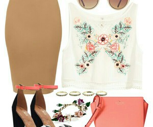 coral, flowers, and outfit image