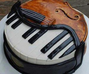 cake, piano, and music image