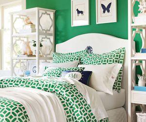 bedding, bedroom, and dorm image