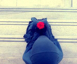 hijab, rose, and jilbab image