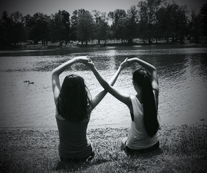 best friends, black and white, and infinity image