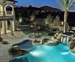 dream house, house, and pool image