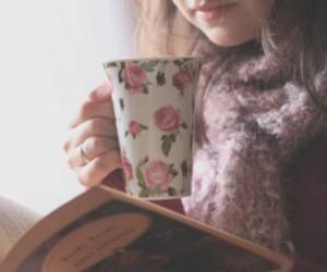 book, girl, and tea image