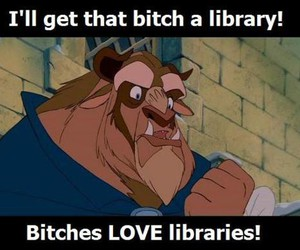 library, beauty and the beast, and funny image