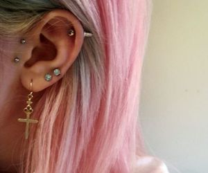 piercing, hair, and pink image