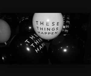 b&w, balloons, and music image