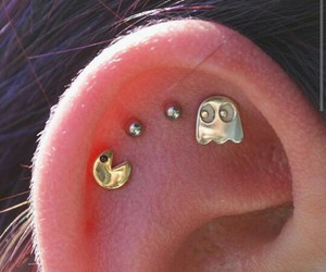 pacman, piercing, and ear image