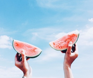 watermelon, summer, and sky image
