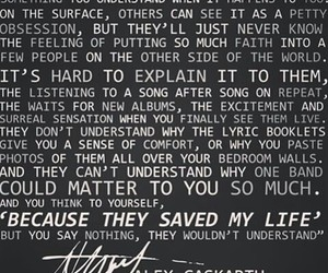 band, quote, and alex gaskarth image