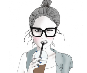 drawing, art, and glasses image