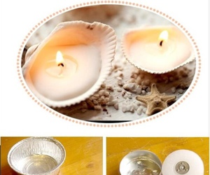 diy, candle, and shell image