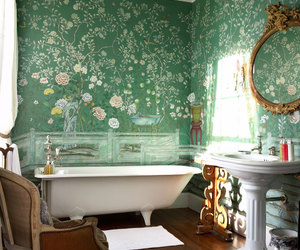 bathroom, green, and flowers image