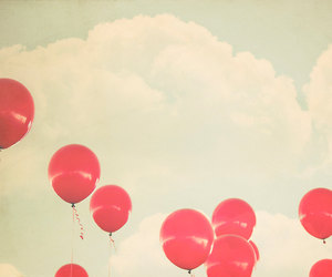 balloons, red, and sky image