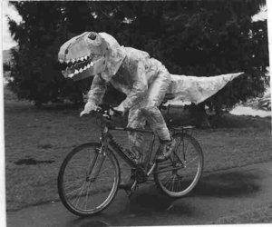dinosaur, bike, and bicycle image