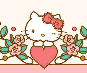 bow, heart, and hello kitty image