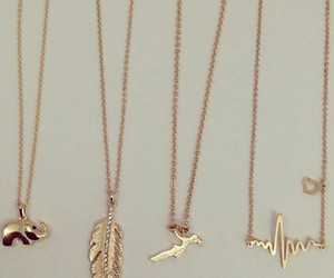 gold, necklace, and fashion image
