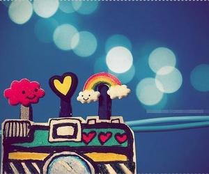 camera, rainbow, and heart image