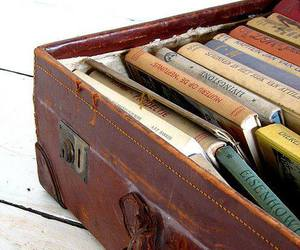 book, suitcase, and vintage image