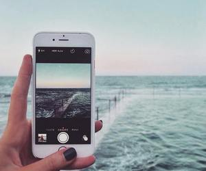 iphone, sea, and photography image