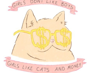 cat, money, and girl image