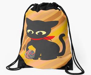bag, kitten, and black cat image