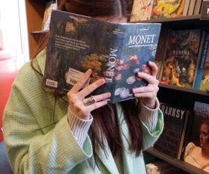 book, girl, and monet image