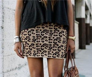 fashion, skirt, and leopard image