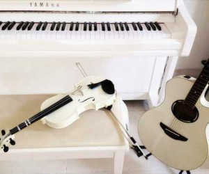 piano, violin, and white image