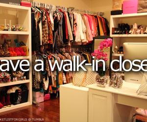closet, walk-in closet, and bucket list image