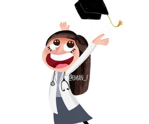 art, cartoon, and graduation image