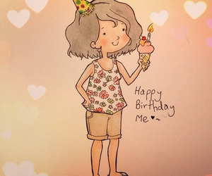 art, birthday girl, and happy birthday image